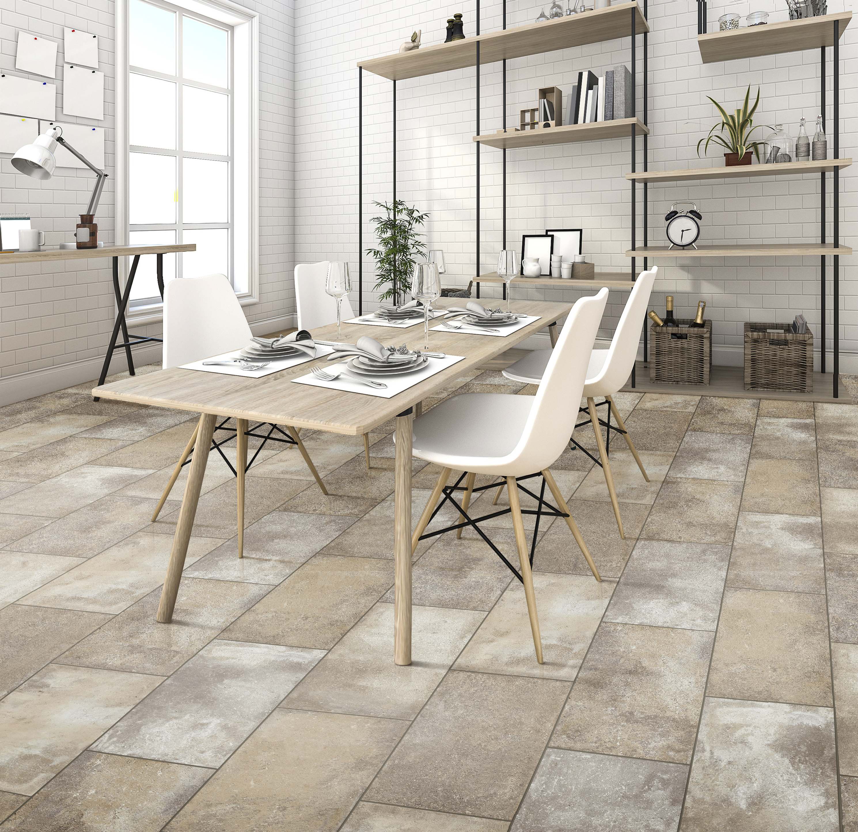 Kitchen Table in a Room With Tile Flooring