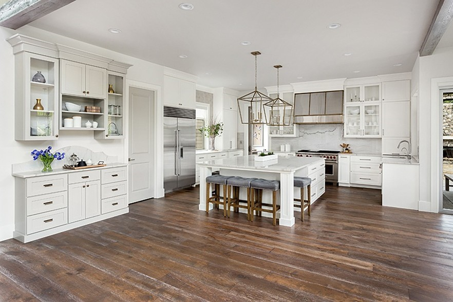 Wood Flooring in Farmhouse-style Kitchen