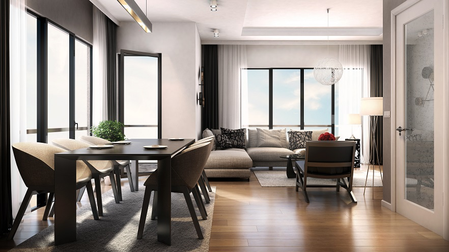 Dining and Living Room with Wood Flooring