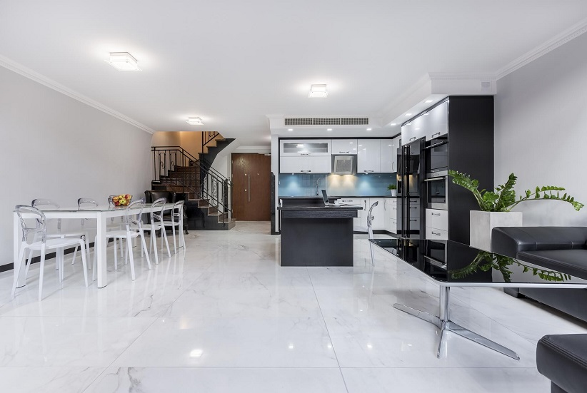 tile flooring in kitchen and dining room