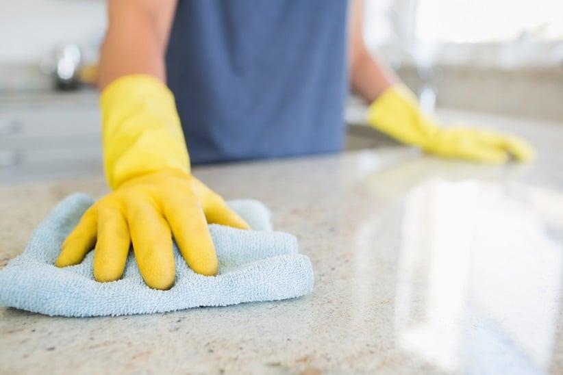 disinfecting kitchen countertop