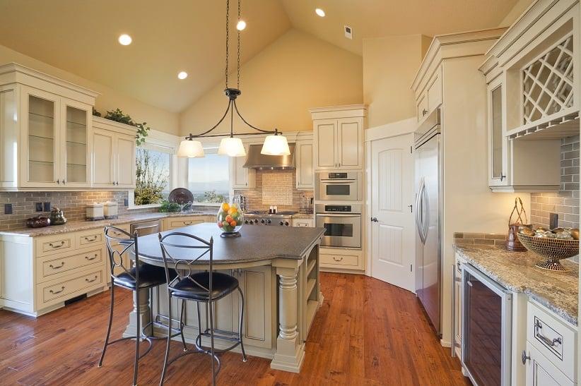 white kitchen with hardwood floors