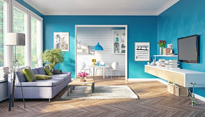 living room with blue decor