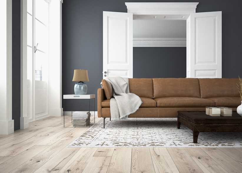 Living Room with Grey Walls and Wood Floors