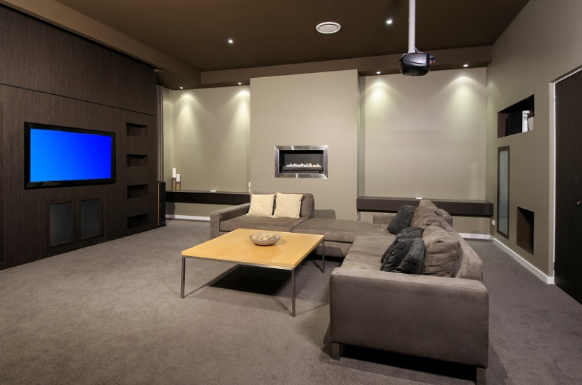 Basement with Grey Carpet