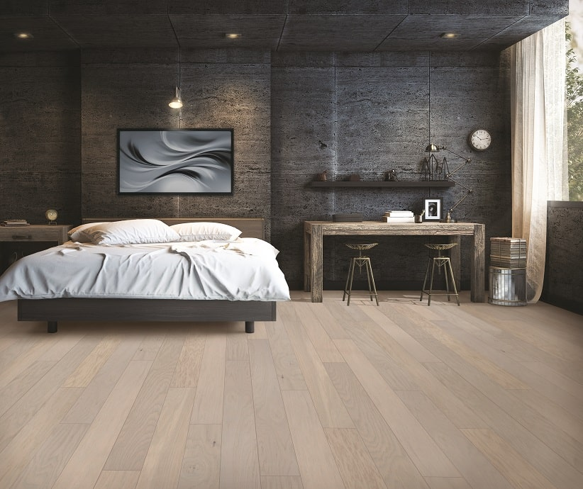 Dark Bedroom With Wood Floors