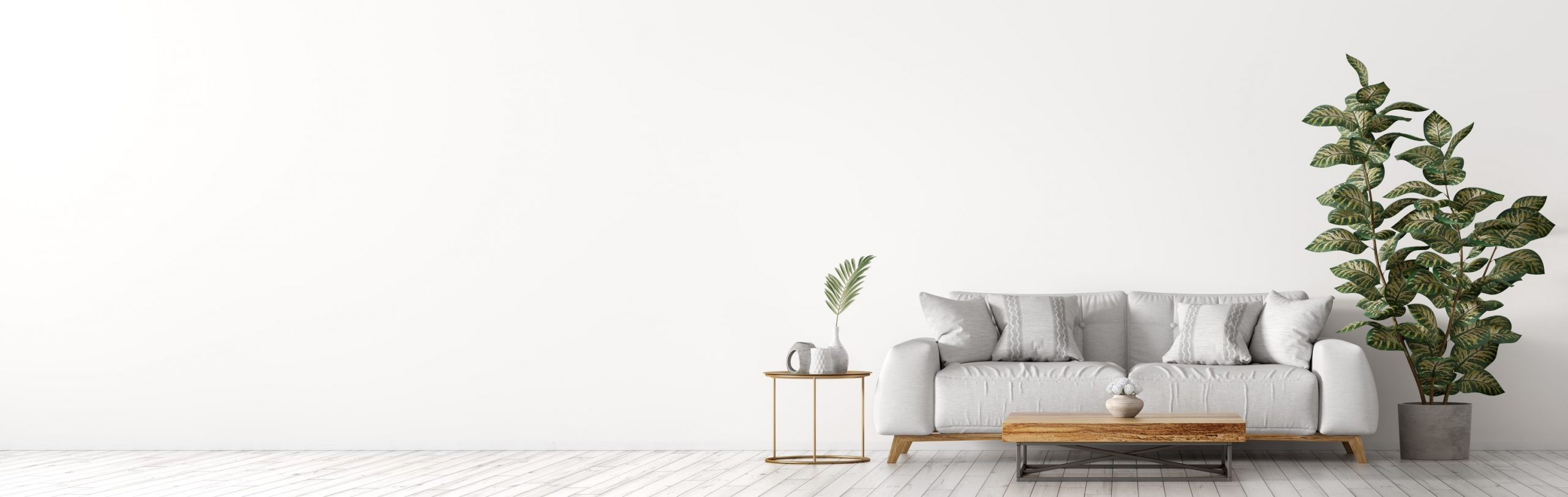 Home with wood floors and white couch