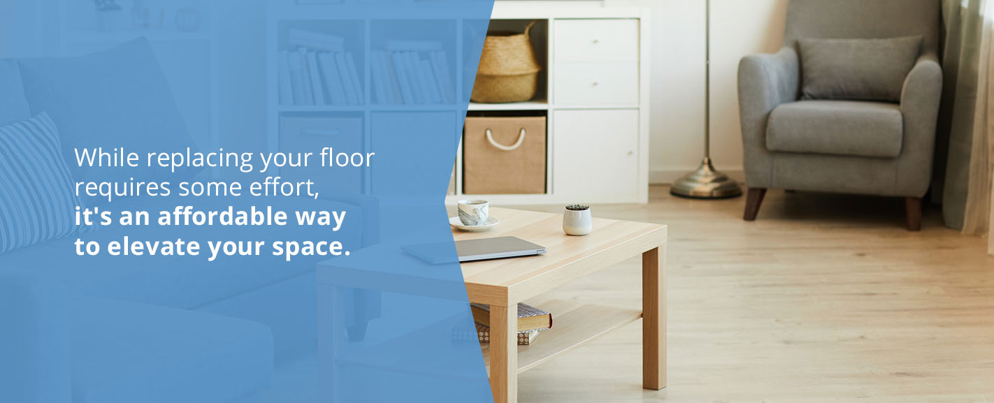 upgrade space by replacing flooring